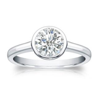 Auriya 14k Gold 3/4ct TDW Round-cut Diamond Solitaire Bezel Engagement Ring (I-J, SI1-SI2)