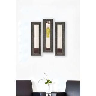 Rayne Dark Embellished Mirror Panel - Dark Mahogany