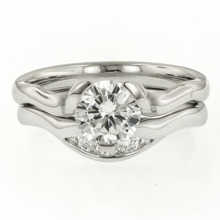 MaeVona 18k White Gold 1/10ct TDW Diamond and Cubic Zirconia Asymmetric Wedding Band Set (G-H, VS1-VS2)