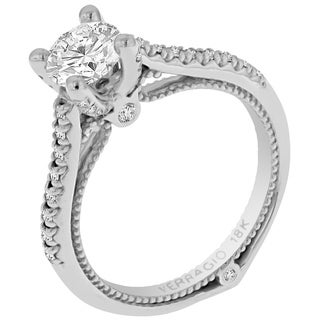 Verragio 18k White Gold 1/4ct TDW Diamond and Cubic Zirconia Side Stone Ring (F-G, VS1-VS2)