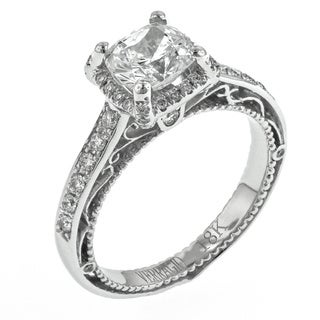 Verragio 18k White Gold 1/3ct TDW Diamond and Cubic Zirconia Halo Engagement Ring