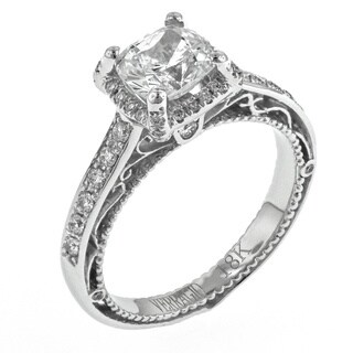 Verragio 18k White Gold 1/3ct TDW Diamond and Cubic Zirconia Semi-Mount Halo Engagement Ring