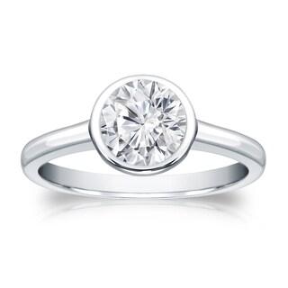 Auriya 14k Gold 1ct TDW Round-cut Diamond Solitaire Bezel Engagement Ring (H-I, VS1-VS2)