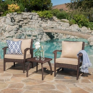 Link to Honolulu Outdoor 3-piece Wicker Chat Set with Cushions by Christopher Knight Home Similar Items in Outdoor Loveseat