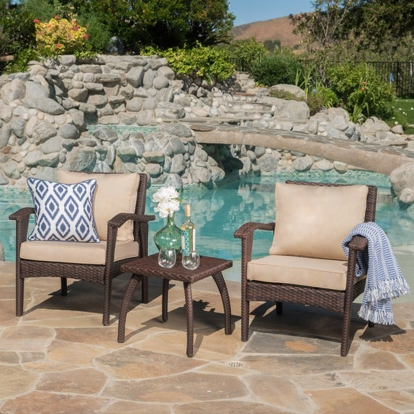 Honolulu Outdoor 3-piece Wicker Chat Set with Cushions by Christopher Knight Home. Opens flyout.