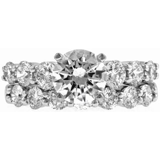 14k White Gold 7/8ct TDW Diamond and Cubic Zirconia Wedding Ring Set (G-H, VS1-VS2)