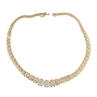 10k Yellow Gold 4ct TDW Round Diamond Necklace (H-I, I2-I3)