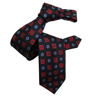 Dmitry Men's Navy Patterned Italian Silk Tie