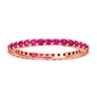 10k Rose Gold 9/10ct Natural Pink Sapphire Stackable Eternity Band Ring|https://ak1.ostkcdn.com/images/products/11199869/P18189582.jpg?impolicy=medium