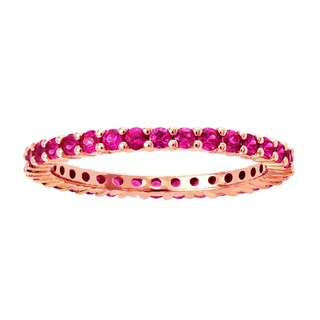 10k Rose Gold 9/10ct Natural Pink Sapphire Stackable Eternity Band Ring