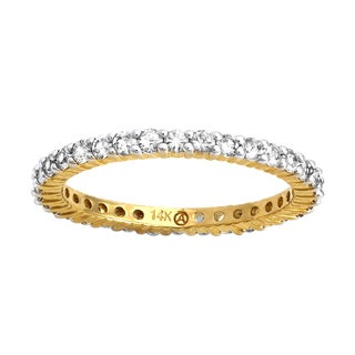 Beverly Hills Charm 14k Yellow Gold 1ct Natural White Sapphire Stackable Eternity Band Ring