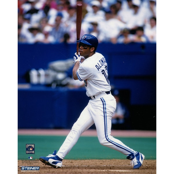 """Roberto Alomar Blue Jays White Jersey Swing Vertical 8x10 Photo w/ """"HOF"""" Insc. (MLB Auth) (Signed in Silver)"""