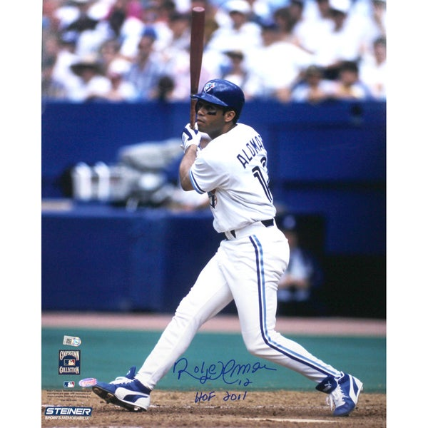 "Roberto Alomar Blue Jays White Jersey Swing Vertical 8x10 Photo w/ ""HOF"" Insc. (MLB Auth)"