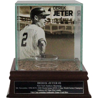 "Derek Jeter ""Side View w/Facade"" Background Glass Single Baseball Case w/ Yankee Stadium Authentic Dirt & Nameplate"