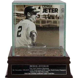 "Derek Jeter ""Side View w/Facade"" Background Glass Single Baseball Case w/ Yankee Stadium Authentic Dirt & Nameplate"