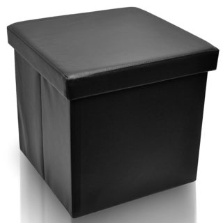 Faux Leather Folding Storage Ottoman Foot Rest Stool Seat (Black)