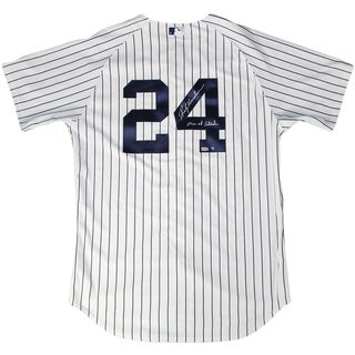 """Rickey Henderson Signed New York Yankees #24 Home Pinstripe Authentic Jersey w/ """"Man of Steel"""" Insc (MLB Auth)"""