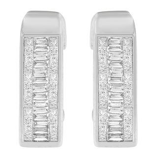 14k White Gold 17/8ct TDW Princess and Baguette Diamond Earrings (H-I, SI1-SI2)