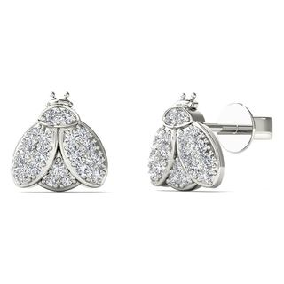 AALILLY 10k White Gold 1/10ct TDW Diamond Bee Earrings (H-I, I1-I2)