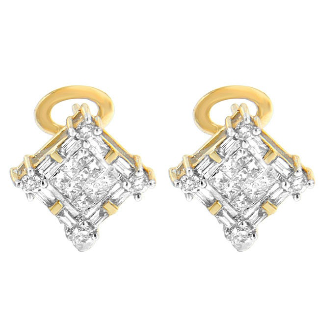 14k Yellow Gold 1ct TDW Round, Baguette and Princess-cut ...