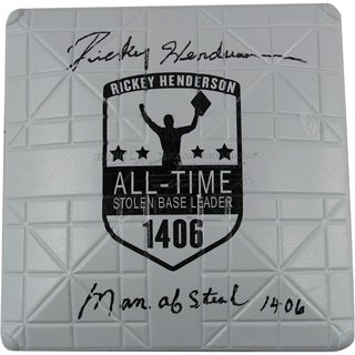 "Rickey Henderson Signed Commemorative Base w/ ""Man of Steal, 1,406"""