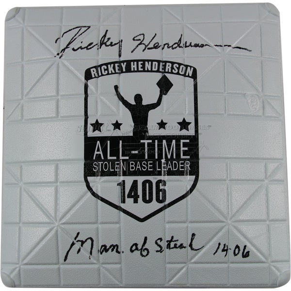 """Rickey Henderson Signed Commemorative Base w/ """"Man of Steal, 1,406"""""""
