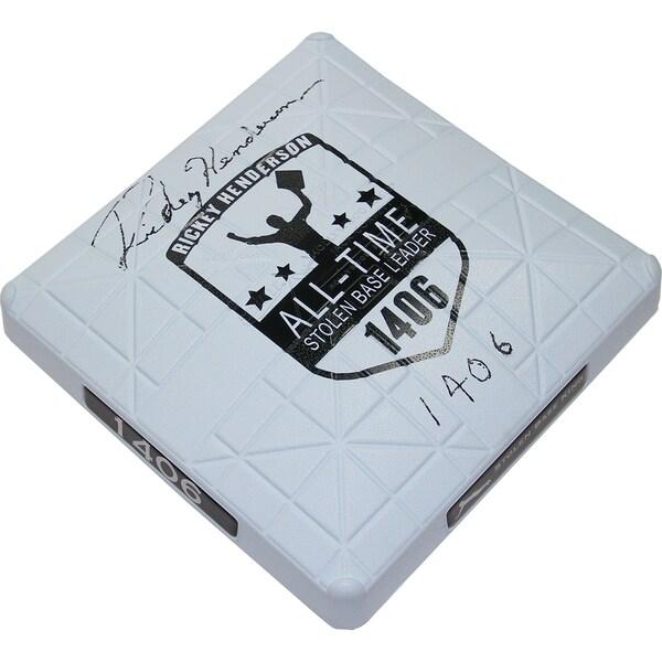 """Rickey Henderson Signed Commemorative Base w/ """"1,406 S.B."""" Insc."""