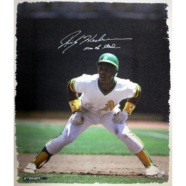 "Rickey Henderson Oakland Athletics on Base 20x24 Canvas w/ ""Man Of Steal"" Insc LE/35 (Web Exclusive)"