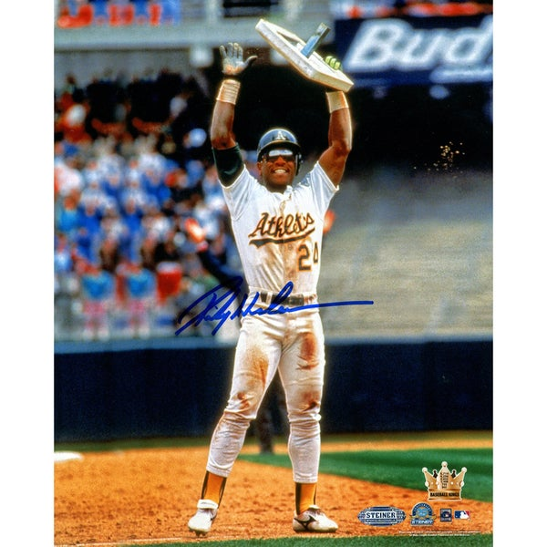 Rickey Henderson Holding Base in Air Verticle 8x10 Photo
