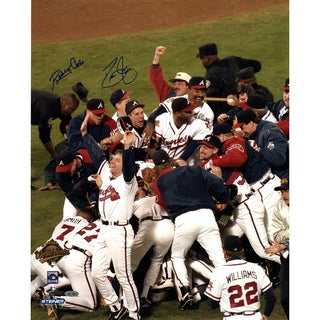 David Justice/Bobby Cox Dual Signed 1995 WS Celebration 16x20 Photo