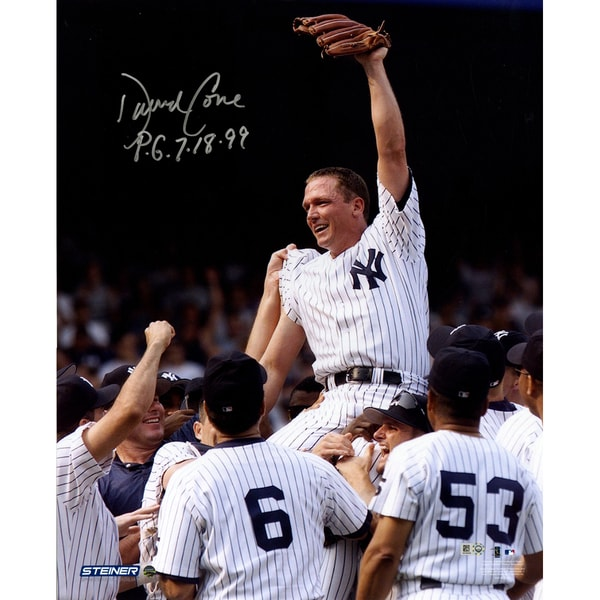 "David Cone Signed Perfect Game Carry-Off Close Up Vertical 16x20 Photo w/ ""PG"" Insc. (MLB Auth)"