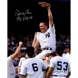 """David Cone Signed Perfect Game Carry-Off Close Up Vertical 16x20 Photo w/ """"PG"""" Insc. (MLB Auth)"""