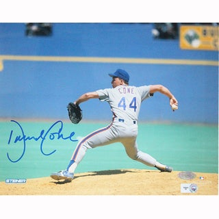 David Cone New York Mets Grey Jersey Pitching Horizontal Signed 8x10 Photo