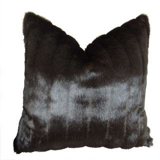Plutus Tip Dyed Brown Faux Mink Handmade Throw Pillow