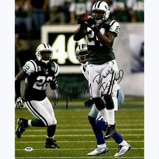 Darrelle Revis Signed Intercepting Football vs. Cowboys 16x20 Photo Revis Island Insc