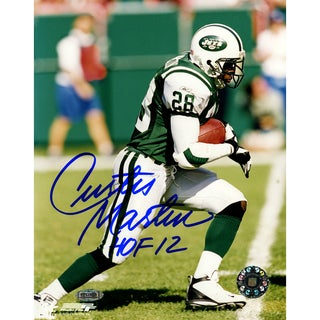 """Curtis Martin Jets Signed Side View Running 8x10 Photo w/ """"HOF 12"""" Insc."""