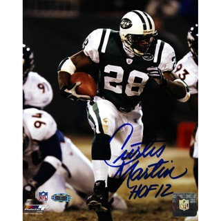"Curtis Martin Jets Signed (in Blue) Run vs. Broncos 8x10 Photo w/ ""HOF 12"" Insc."