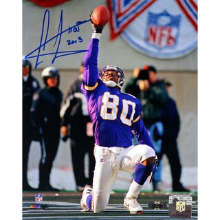 Cris Carter Vikings On Knee with Ball in Air Signed 8x10 photo w/HOF Insc.