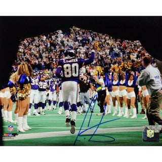Cris Carter Signed Coming Out Of The Tunnel Pointing Back View 8x10 Photo