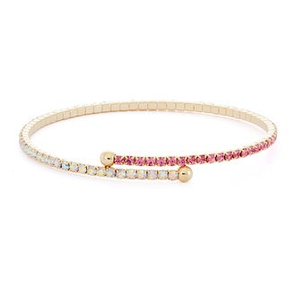 Isla Simone - 14 Karat Gold Plated Combo Pastel Tone 1-Row Flex Bangle