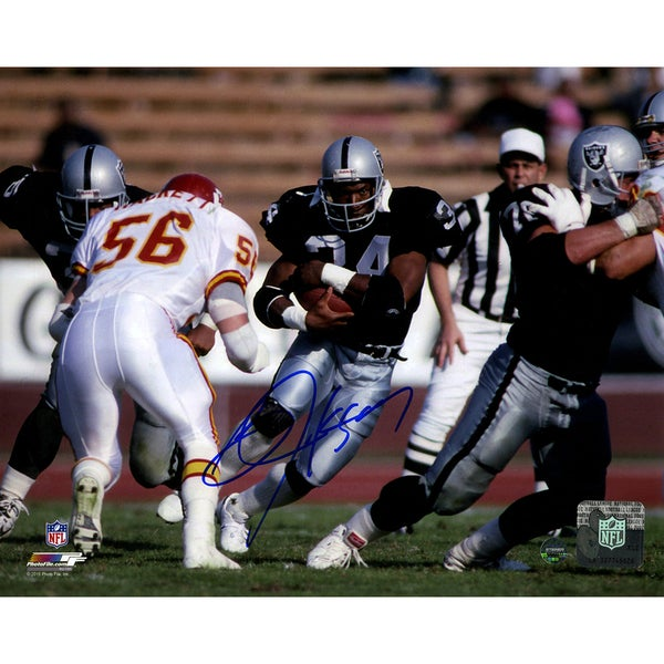 Bo Jackson Signed Rushing Against Chiefs Horizontal 8x10 Photo