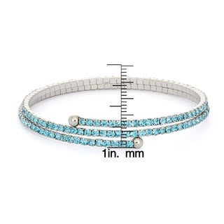 Isla Simone - Rhodium Plated Combo Pastel Tone 2-Row Flex Bangle