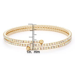 Isla Simone 14k Gold Overlay Solid Pastel Crystal 2-row Flex Bangle