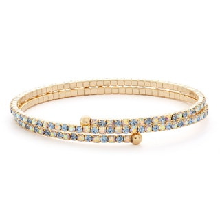 Isla Simone 14k Goldplated 2-Row Crystal Flex Bangle