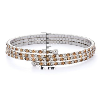 Isla Simone - Rhodium Plated Crystal Solid Pastel 3-Row Flex Bangle
