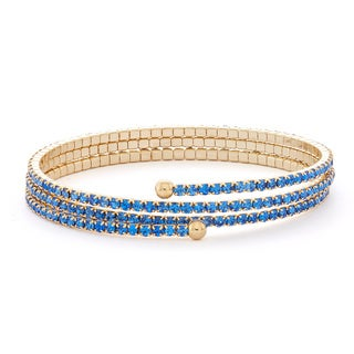 Isla Simone 14k Gold Plated 3-Row Pastel Crystal Flex Bangle