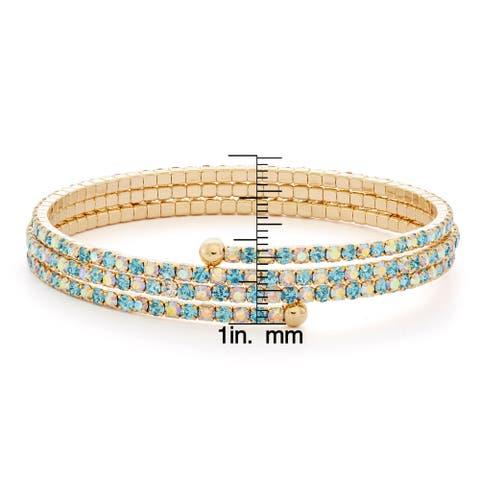 Isla Simone - 14 Karat Gold Plated Gradient Crystal 3-Row Flex Bangle