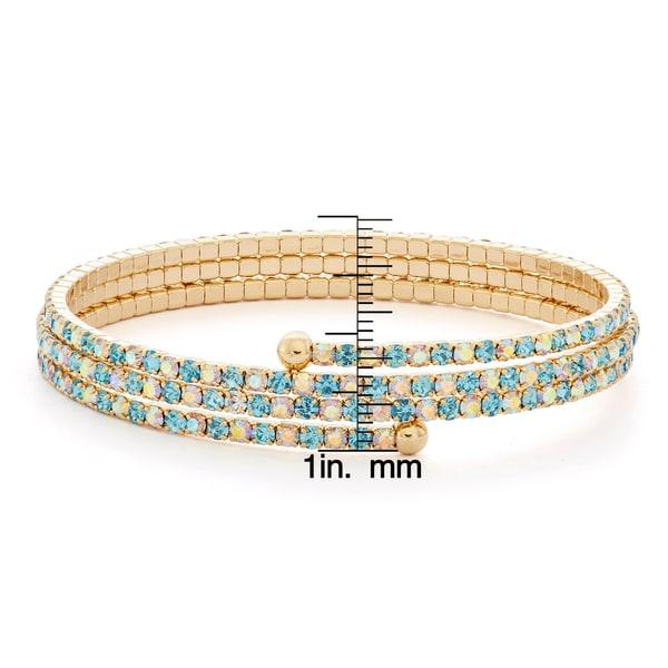 Isla Simone - 14 Karat Gold Plated Gradient Crystal 3-Row Flex Bangle. Opens flyout.