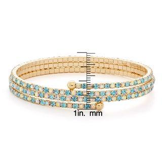 Isla Simone - Gold-Plated Gradient Crystal 3-Row Flex Bangle