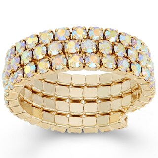 Isla Simone Crystal Solid Pastel Tone Style 3-Row Ring in Aurora Borealis